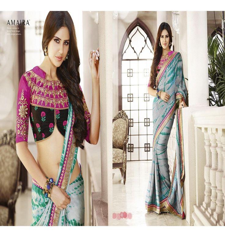 Bluish green and see green saree buy saree online vaaman creation