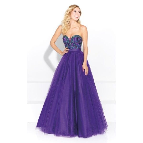 Madison James 17251 Prom Dress 2017 Long Strapless Sleeveless (£335) ❤ liked on Polyvore featuring dresses, gowns, formal dresses, purple, prom dresses, prom gowns, long formal dresses, formal evening gowns and long purple dress