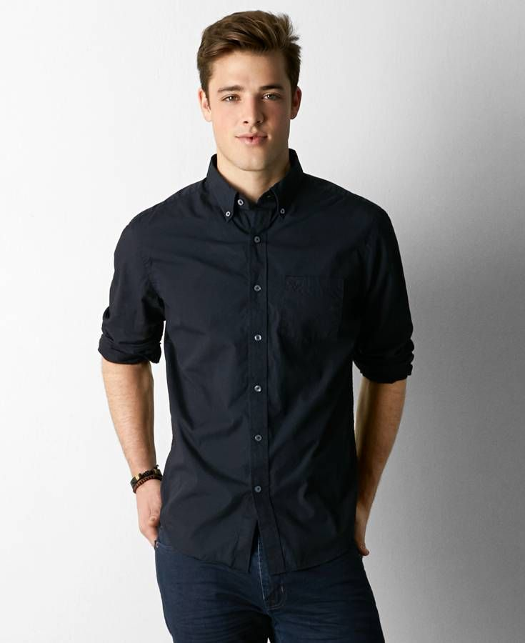 Aeo Solid Poplin Button Down Shirt Men 39 S Black