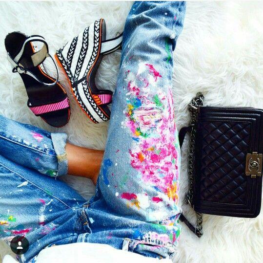 RL paint splatter jeans & Sophia Webster espadrilles