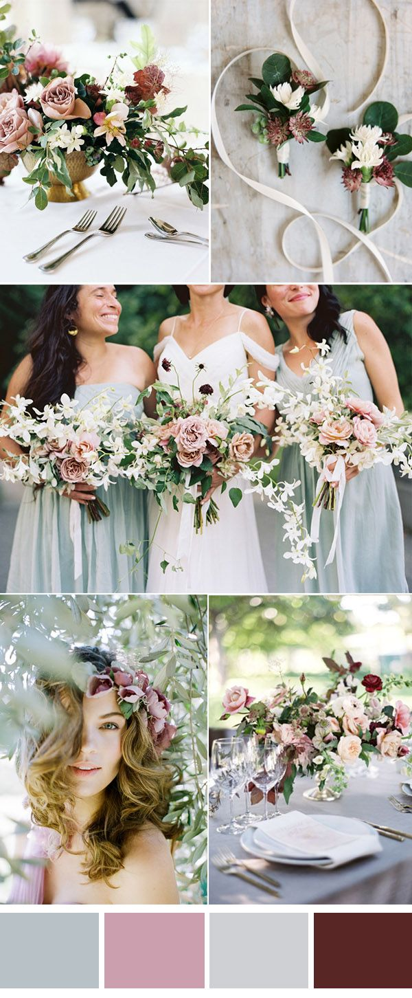 romantic mint and mauve wedding color ideas