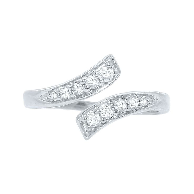 18K Gold Over Sterling Silver CZ Double Heart Toe Ring hKCxUgP