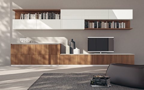 LiberaMente by #Scavolini. Modules with Decorative Walnut Nattè doors for the base units and Prestige While  glossy lacquered doors for the wall units with the same  size (90 cm). The #living area composition has an Absolute  White polished glass top. #kitchens