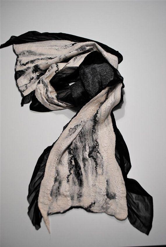 BLACK friday 40% OFF. Nuno felted scarf. Silk by FELTbyNatalie