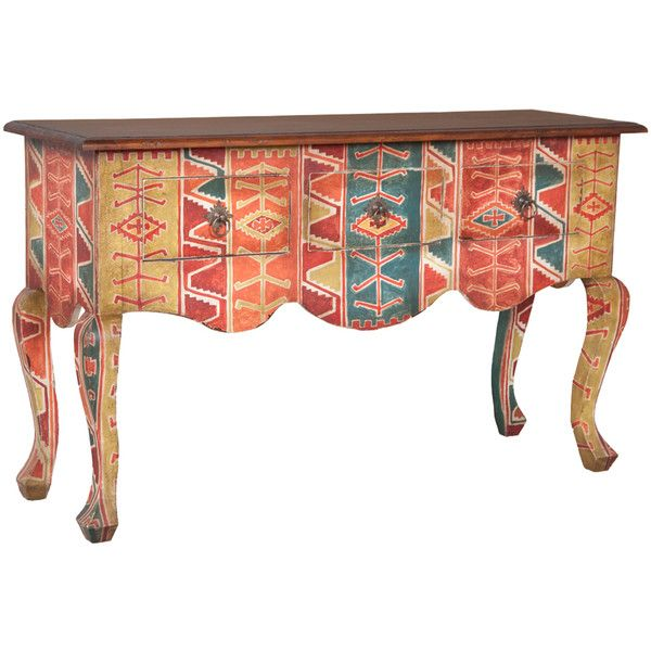 Southwestern Cabriole Console ($1,795) ❤ liked on Polyvore featuring home, furniture, storage & shelves, sideboards, tables, storage furniture, drawer furniture, handpainted furniture, storage buffet and storage console