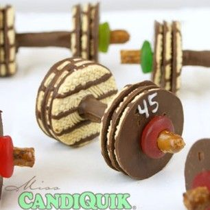 Love these barbell cookies - even if cookies and working out don't go together!  ;)