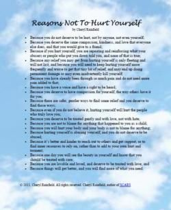 Reasons Not To Hurt Yourself by Cheryl Rainfield, author ...