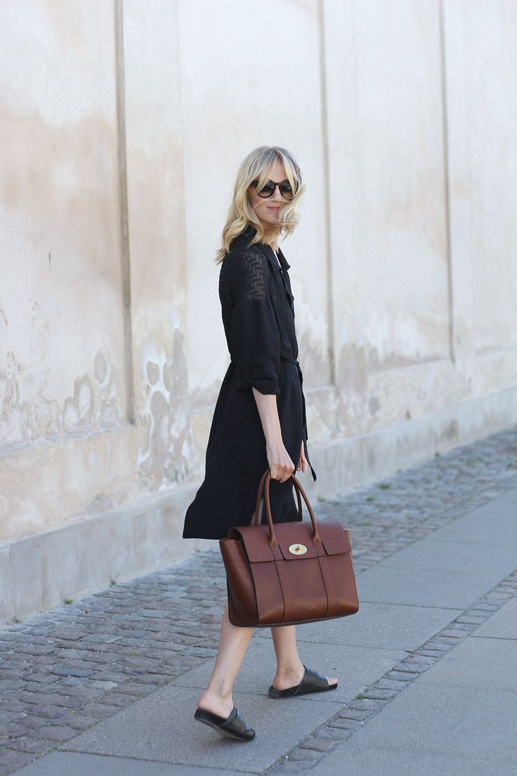 You can't go wrong with a classic shirtdress and a timeless leather bag
