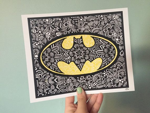 Zentangle  Batman por ZenspireDesigns en Etsy
