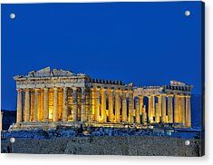 Parthenon In Acropolis Of Athens During Dusk Time Acrylic Print by George Atsametakis