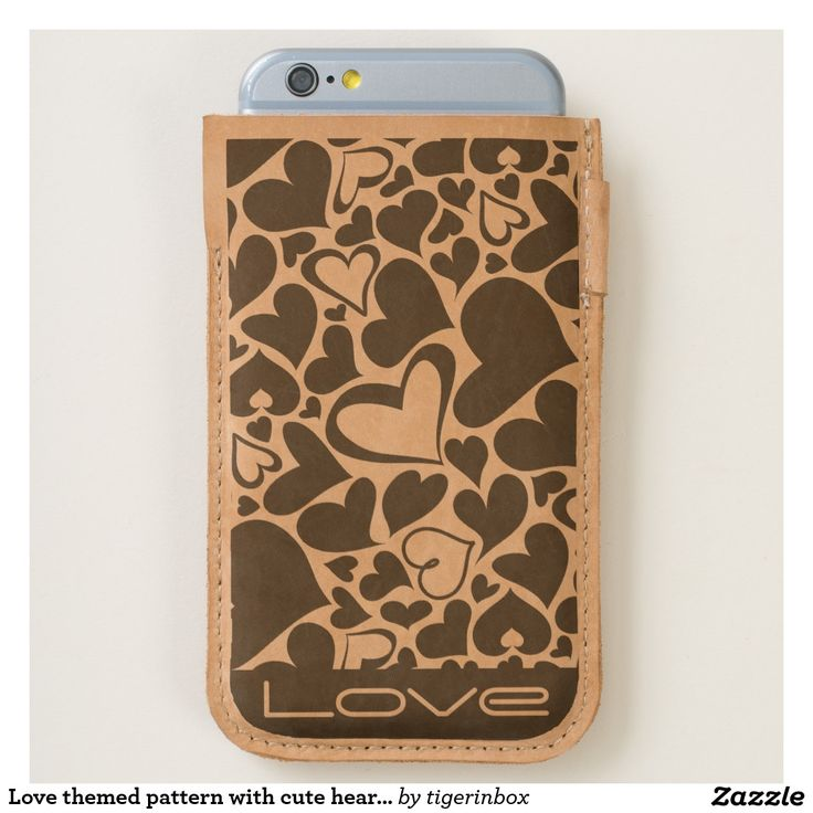 Laser etched phone case that fits both the Apple iPhone 7 and iPhone 6/6s 100% cow leather Unique laser etching decoration with hearts pattern and custom text (Love). Stylish gift idea for your sweetie Zazzle Heart phone pouche $55.96