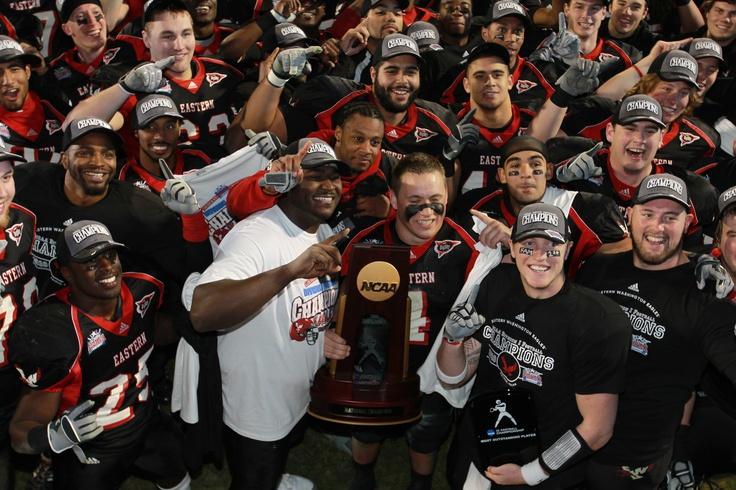 Eastern Washington State celebrates winning the 2011 NCAA Division I Football Championship