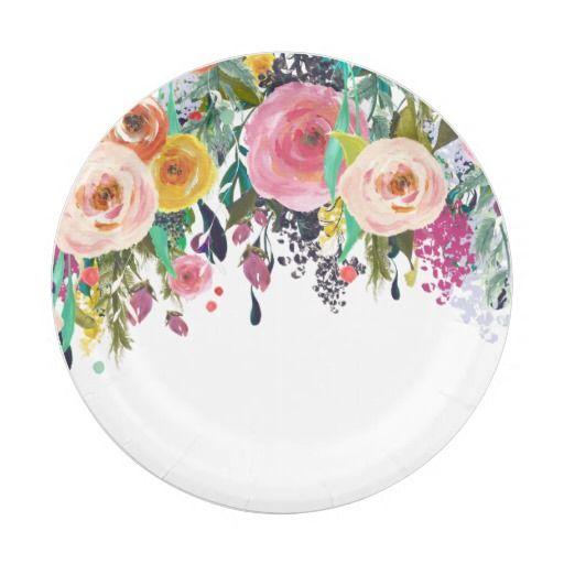 Romantic Garden Floral Watercolor Paper Plate 20.17% off #zazzle #leatherwooddesign www.leatherwooddesign.com