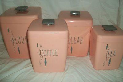 1950s Home Decor Vintage Pink Kitchen Canister Set