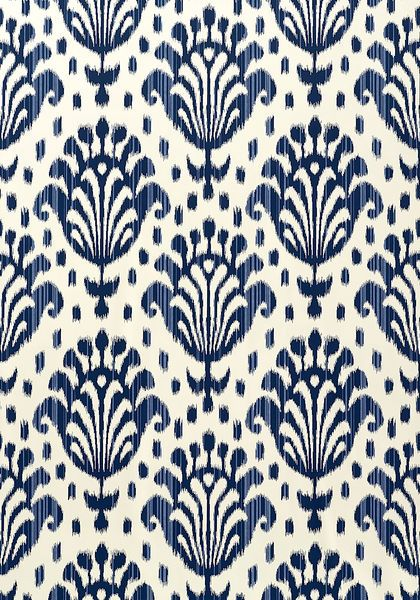 Thai Ikat wallpaper in navy on off-white from the Jubilee collection. Thibaut More