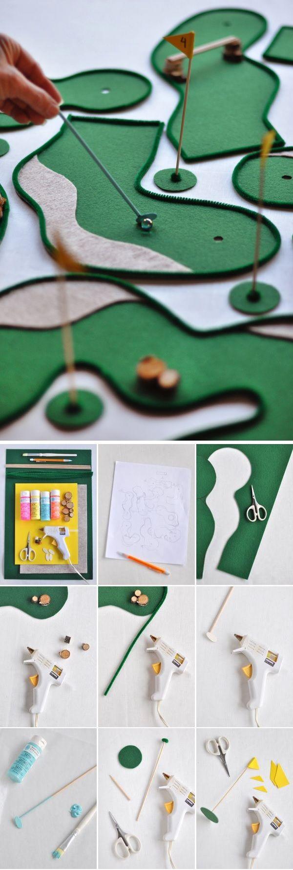 de la feutrine verte + du fil chenille verte + des mélangeurs à cocktail + des billes + des pics à brochette = UN MINI-GOLF DE TABLE / Tabletop Mini Golf | Oh Happy Day!