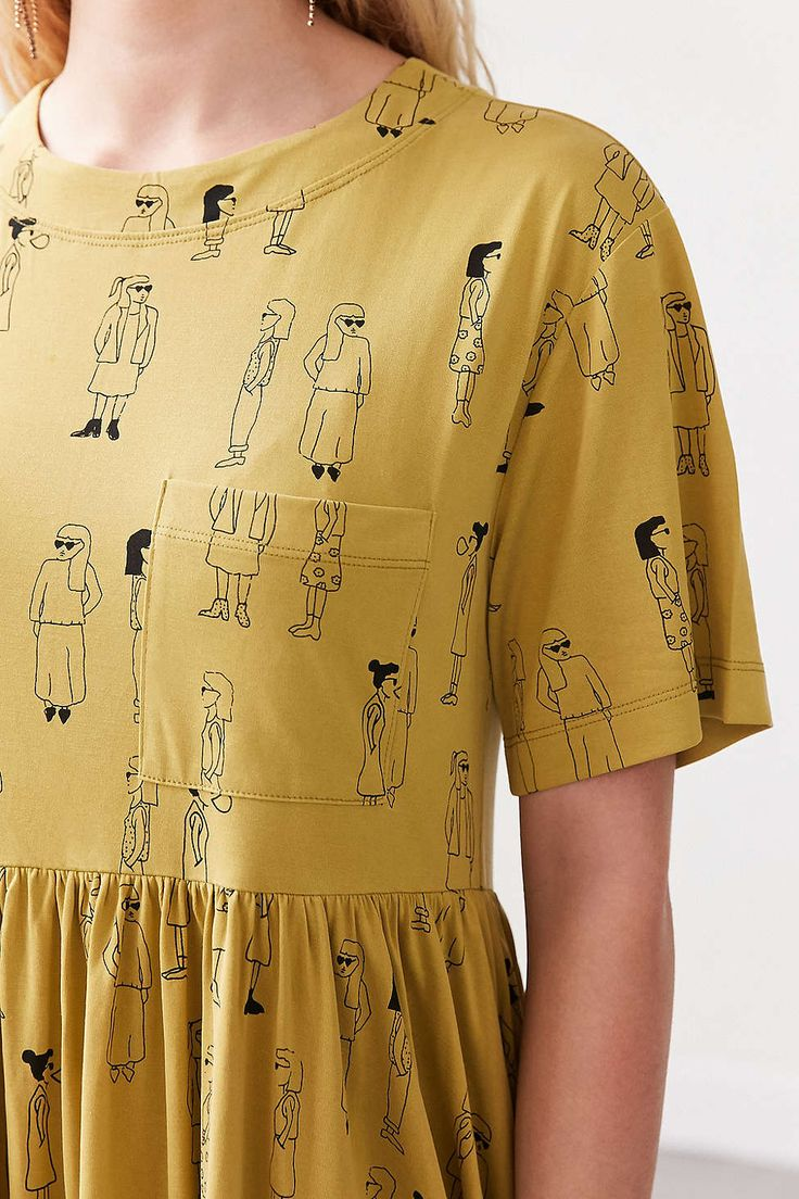 Silence + Noise Cupro Babydoll Mini Tee Dress - Urban Outfitters