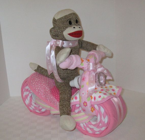 Sock MonkeyMotorcycle Bike Diaper Cake  Baby by arizonababycakes, $85.00