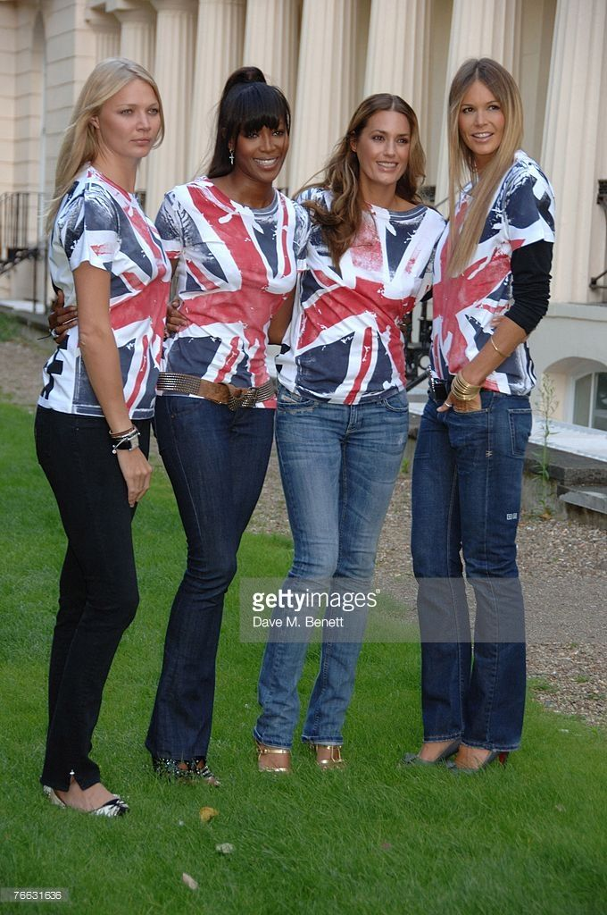 Jodie Kidd, Naomi Campbell, Yasmin LeBon and Elle Macpherson attend the launch of Naomi Campbell's 'Fashion For Relief' at the Rotary Club in Regents Park on September 10, 2007 in London, United Kingdom. The Union Jack t-shirts were designed by Burberry.
