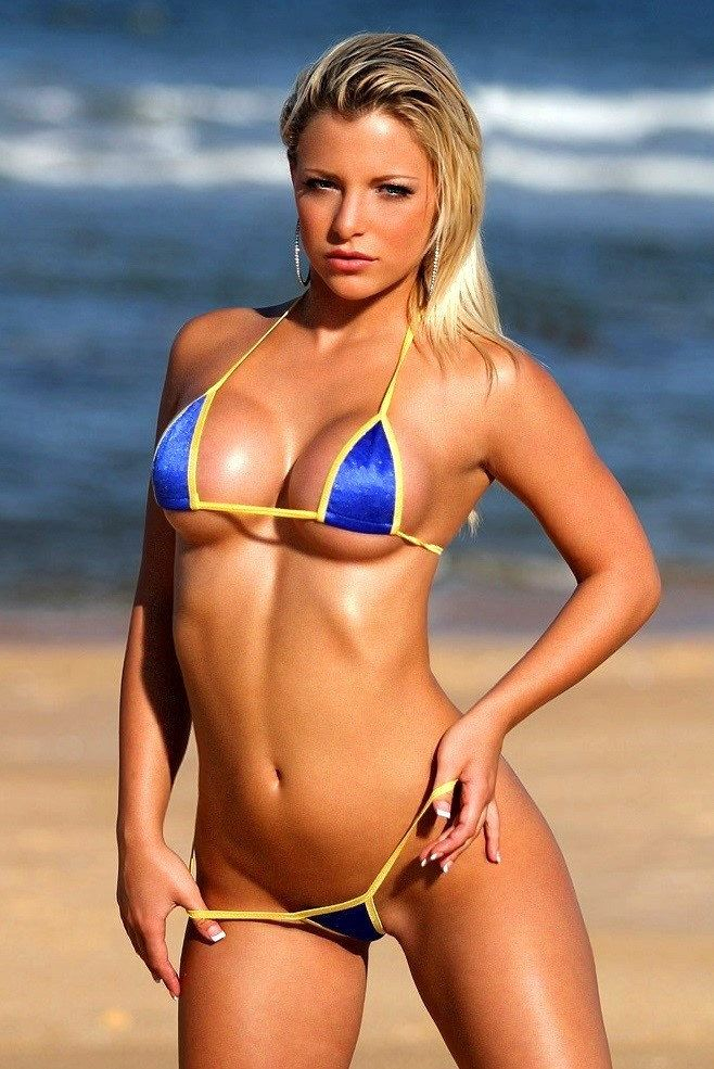 Solid Blue w/ Yellow Sexy Micro G-String Bikini 2pc ...
