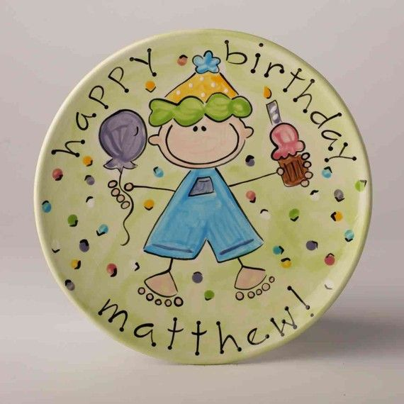 "8"" Boy's Birthday Plate shown in Lime. Also available in Blue and Yellow. Every little boy needs his own special plate to eat his yummy slice of birthday cake on! This hand painted, personalized comme"