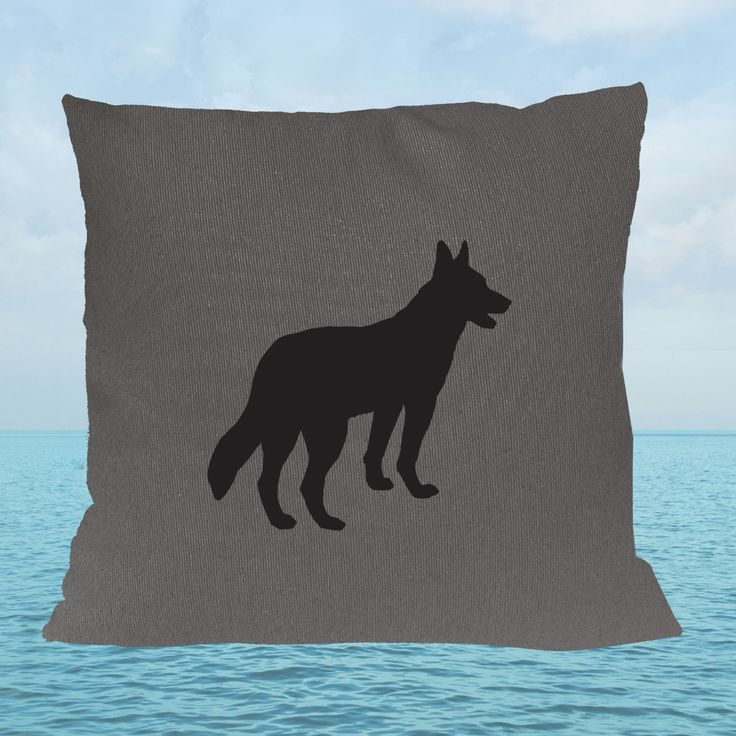 German Shepherd Charcoal Grey  Cotton Cushion Cover by animalsandbirds on Etsy