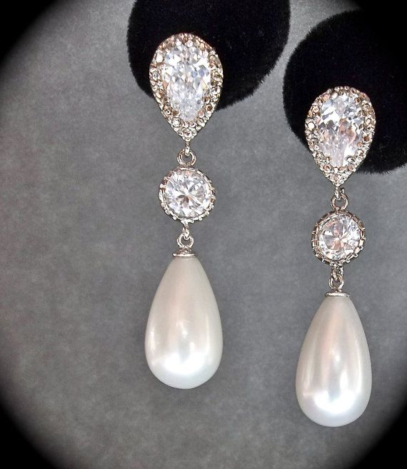 Bridal Jewelry - Pearl earrings - Sterling Silver - Long - pearl drop earrings - Brides earrings - Formal jewelry -