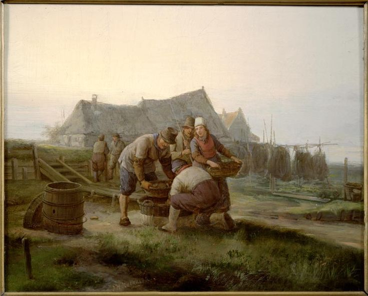 Marker vissers sorteren de gevangen vis in manden. Op de achtergrond hangen netten te drogen. 1793-1851 maker: Koekkoek, Johannes Hermanus (1778-1851) #NoordHolland #Marken