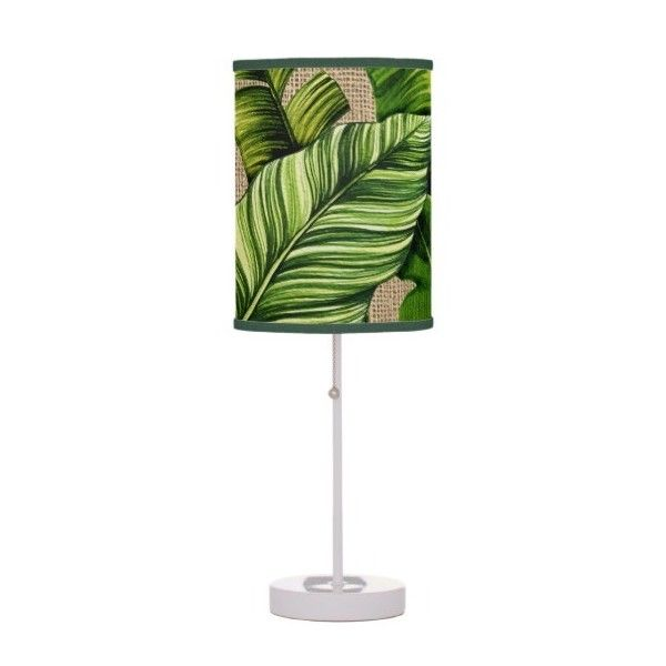 Tropical Banana Leaves on Burlap Table Lamp (€42) ❤ liked on Polyvore featuring home, lighting, table lamps, burlap lamp, green lights, tropical lighting, green table lamp and leaf lights