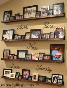 Photo wall shelves.   probably would pick lyrics to a favorite song instead of these words :)