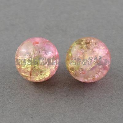 1 прядь два тона прозрачный треск стекла круглый бусины strands, Pearlpink, 8 мм ; отверстие : 1.3 ~ 1.6 мм, 31.4