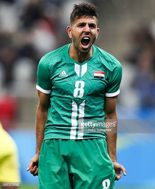 Mahanad Abdulraheem of Iraq reacts during the match between South Africa and Iraq mens football for the Olympic Games Rio 2016 at Arena Corinthians...