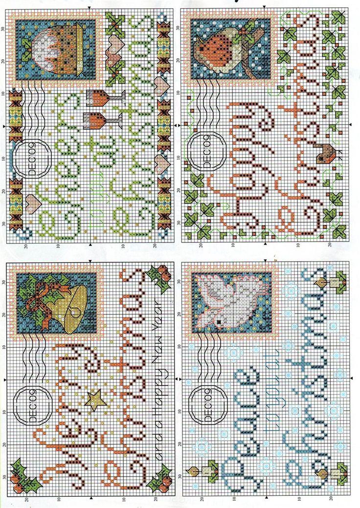 Christmas cross stitch post cards