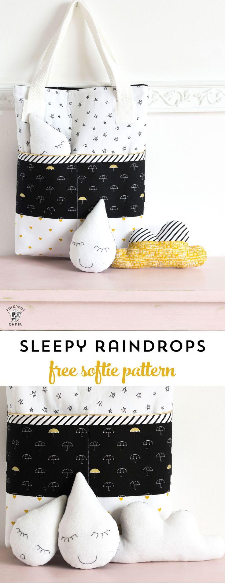 Sleepy Raindrops; a free softie sewing pattern