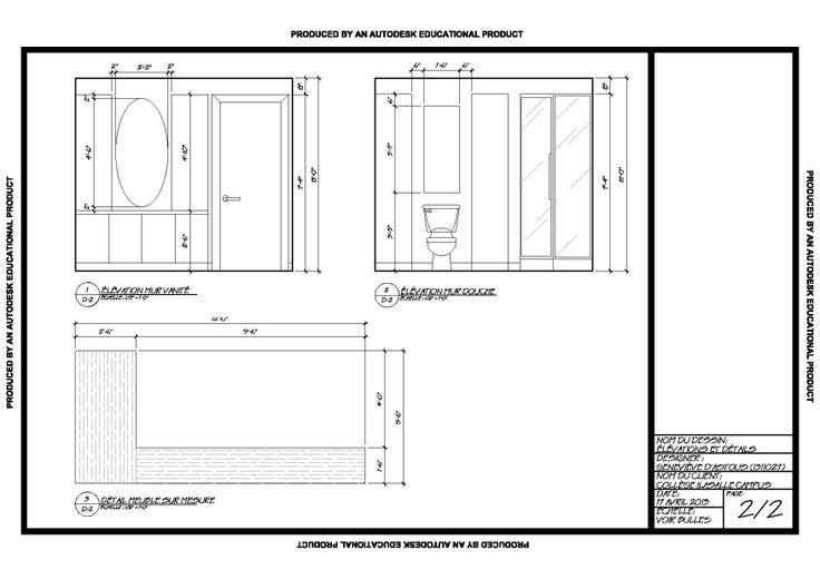Plan Elevation En Anglais : Élévation des murs d une salle de bain réalisée en autocad