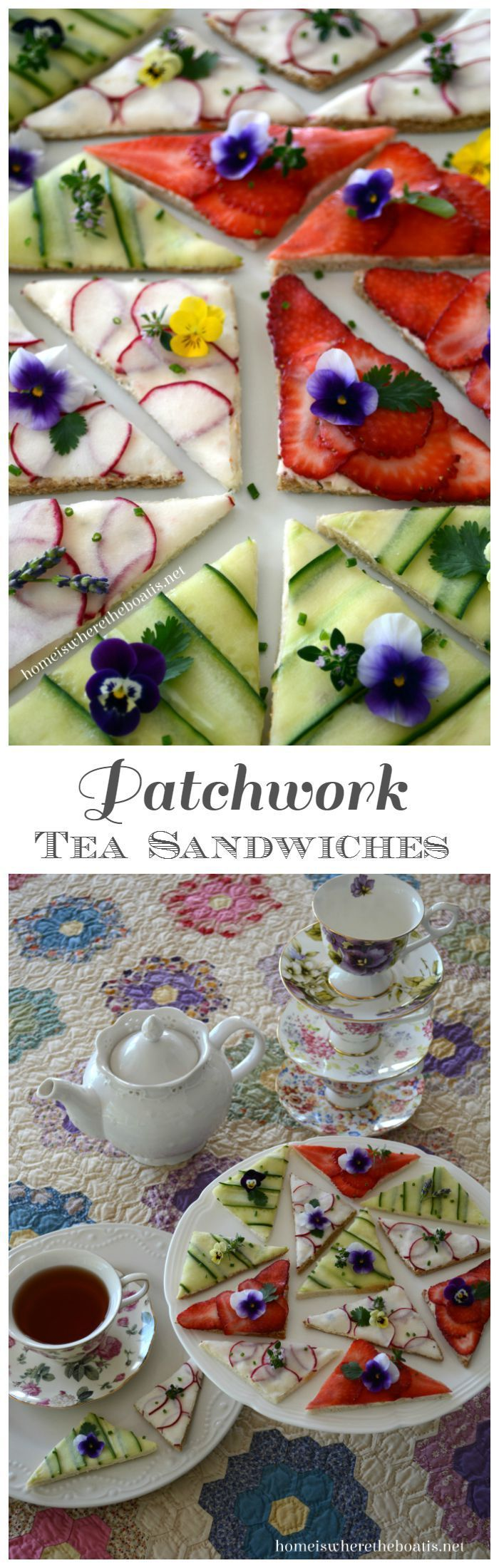Patchwork Tea Sandwiches! A patchwork of cucumber, thinly sliced radishes, and strawberries on top of a cream cheese spread. Garnish with edible flowers and herbs | homeiswheretheboatis.net #tea