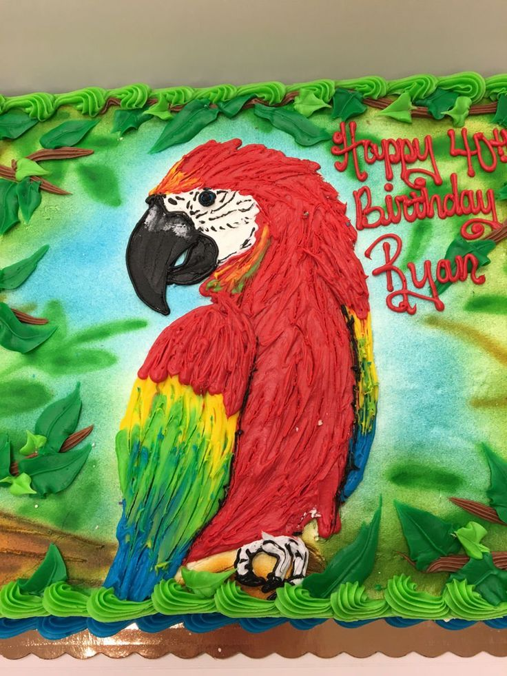 Buttercream Parrot Half sheet cake decorated with buttercream. The background is airbrushed and the parrot is textured buttercream
