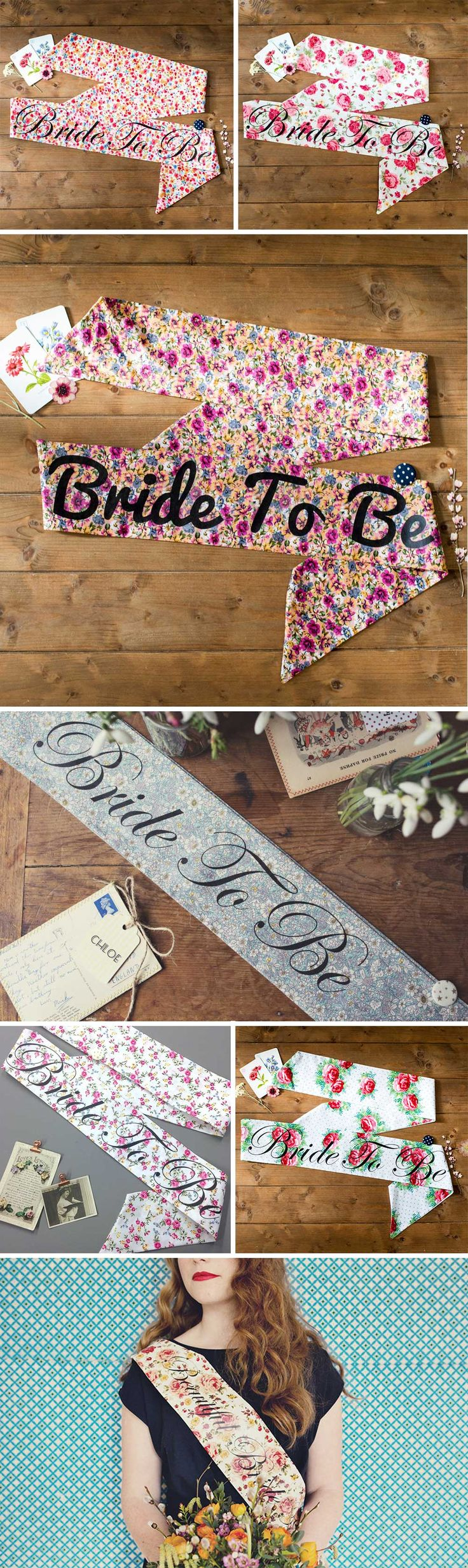 If you're planning a vintage hen party, you absolutely need one of these gorgeous hen party sashes made from fabulous vintage-looking floral fabric. You can choose what text you want on the sash – pick from 'Bride to Be', 'Beautiful Bride to Be', 'Bridesmaid', 'Maid of Honour' or 'Blushing Bride'. You can also have a personalised message for an additional cost.