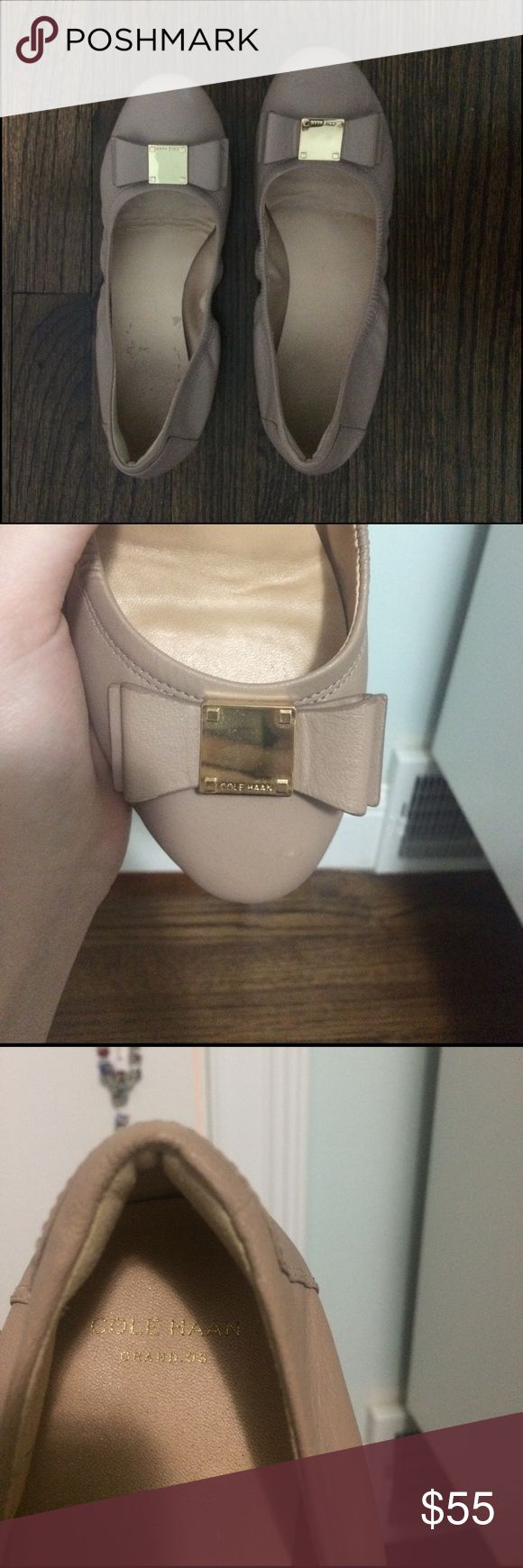 Cole Haan Tali Bow flats Cole Haan nude leather ballet flats with a decorative bow. Worn only a few times. Have silver numbers on the sole Cole Haan Shoes Flats & Loafers