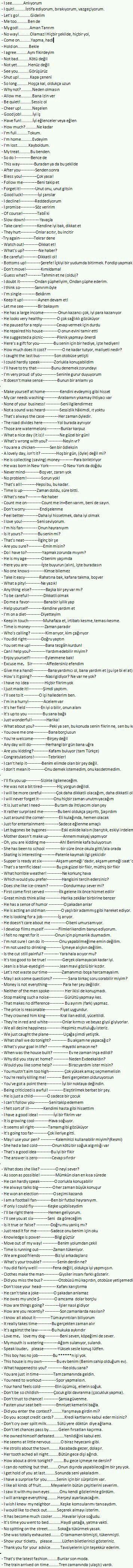 Önemli kısa cümleler