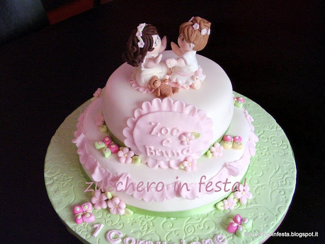 First holy communion cakes for 2 sister