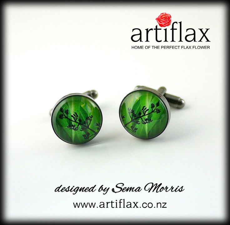Gorgeous flax dome cufflinks set in gunmetal bases, designed by Sema Morris