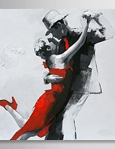 Hand Painted Oil Painting People Couple Dancing with Stretch... – USD $ 71.99