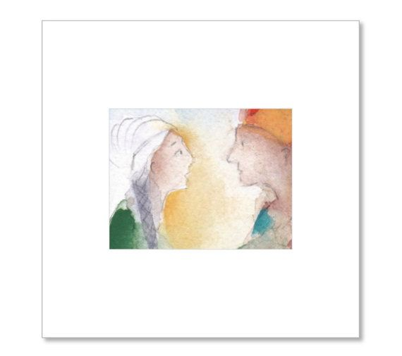 Watercolour LOVERS MEETING art print middle east by ESSAYBOGPOESI