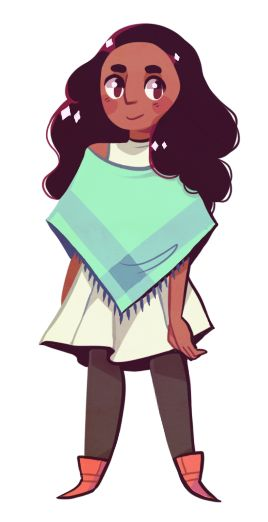 """sergle: so… I have a txt file that just says """"SU characters in capes // ponchos""""so I made a poncho connie!!(it's also transparent)"""