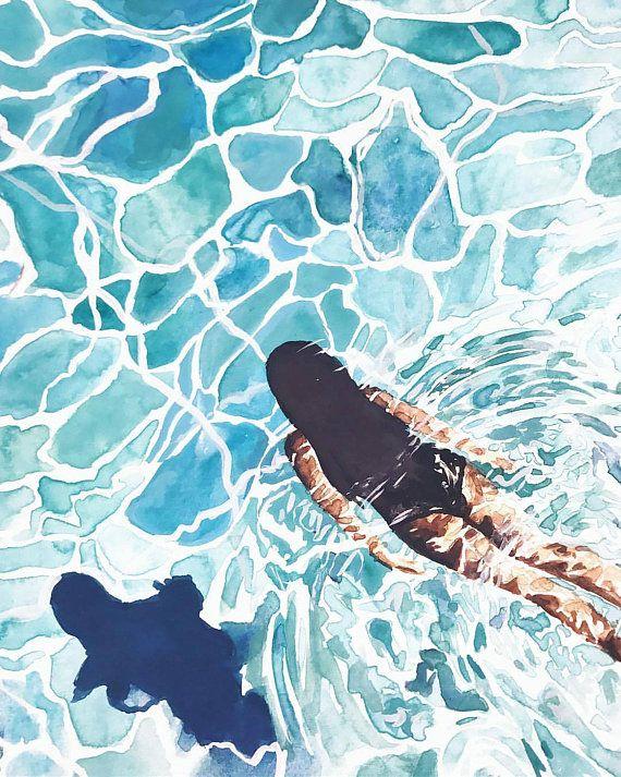 Swimming Pool Art Print In 2020 Water Art Weather Art Pool Drawing