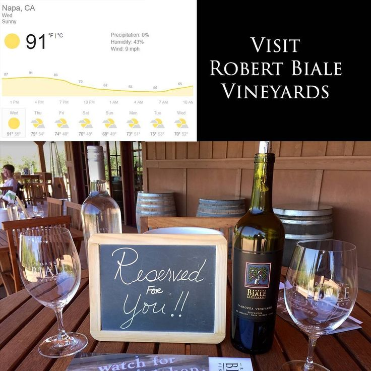 The weather forecast is great! Make plans to join us at Robert Biale Vineyards. Reservations Required - Tasting Room Open Daily - 10:00AM to 4:00PM - 707 257-7555 x 202 - tastingroom@biale.com  #zinfandel #petitesirah #napavalley #wine #tastingroom #robertbialevineyards #bialevineyards #winedestinations