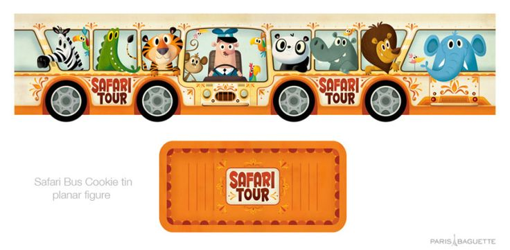 Safari Bus tin planar figure