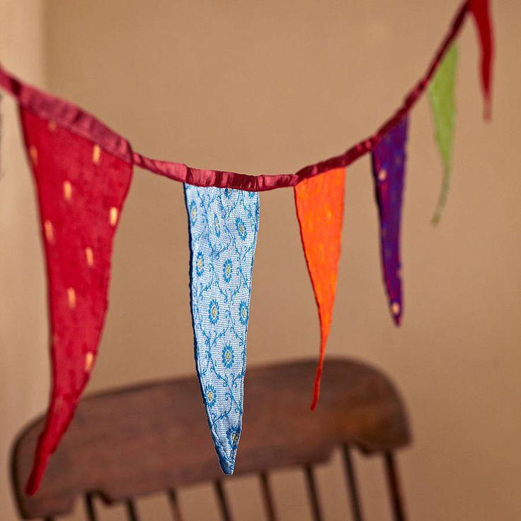 fair trade recycled sari bunting by paper high | notonthehighstreet.com