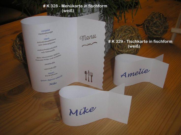 Tischkarte in fischform  Kommunion Hochzeit Taufe von Bastelkoenigin-de auf DaWanda.com
